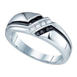 10KT White Gold 0.19CT BLACK DIAMOND MENS BAND