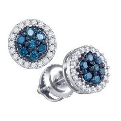 10KT White Gold 0.48CTW BLUE DIAMOND FASHION EARRING