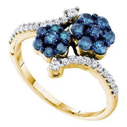 10K Yellow-gold 0.75CTW BLUE DIAMOND FLOWER RING