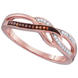 10kt Rose Gold Womens Round Red Colored Diamond Woven F