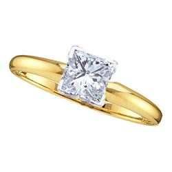 14KT Yellow Gold 0.20CTW EXCELLENT PRINCESS DIAMOND RIN
