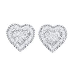 10KT White Gold 0.33CTW DIAMOND HEART EARRINGS