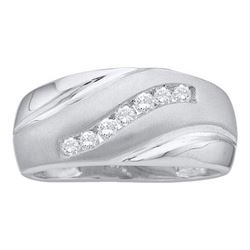 14KT White Gold 0.25CTW DIAMOND CLUSTER MENS BAND
