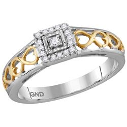 10kt Two-tone Gold Womens Round Natural Diamond Solitai