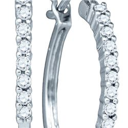 14KT White Gold 0.24CTW DIAMOND MICRO-PAVE EARRINGS