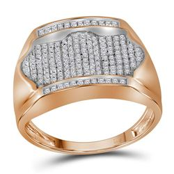 10kt Rose Gold Mens Round Diamond Rectangle Arched Clus