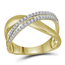 10kt Yellow Gold Womens Round Diamond Crossover Band Ri