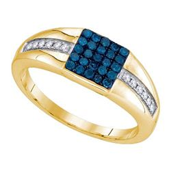 10K Yellow-gold 0.50CTW BLUE DIAMOND FASHION MENS RING