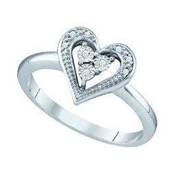 10KT White Gold 0.02CTW DIAMOND HEART RING