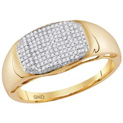 10kt Yellow Gold Mens Round Pave-set Diamond Oval Clust