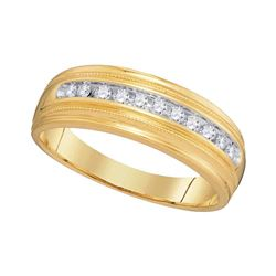 10kt Yellow Gold Mens Round Diamond Single Row Milgrain