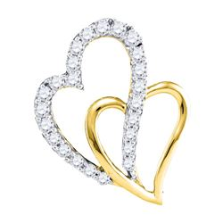 10kt Yellow Gold Womens Round Diamond Double Heart Pend