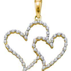 10KT Yellow Gold 0.17CTW DIAMOND HEART PENDANT
