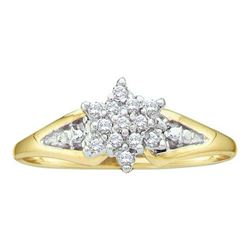 10KT Yellow Gold 0.10CTW DIAMOND LADIES CLUSTER RING
