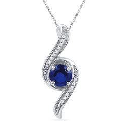 10kt White Gold Womens Round Lab-Created Blue Sapphire