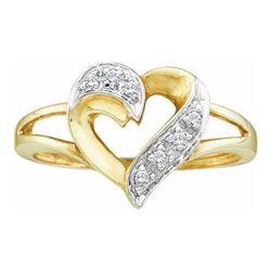 10KT Yellow Gold 0.05CTW DIAMOND LADIES HEART RING