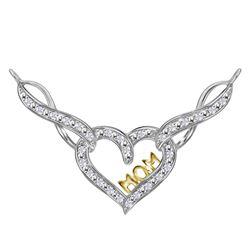 Sterling Silver Womens Round Diamond Mom Infinity Heart