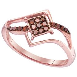 10KT Rose Gold 0.15CTW RED DIAMOND FASHION RING