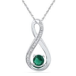 10kt White Gold Womens Round Lab-Created Emerald Infini