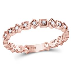 10kt Rose Gold Womens Round Diamond Squares Stackable B