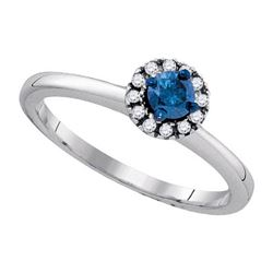 925 Sterling Silver White 0.25CTW-BLUE DIAMOND RING