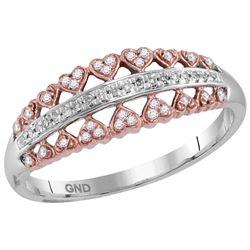 10kt White Rose-tone Gold Womens Round Diamond Heart Sy