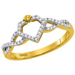 10kt Yellow Gold Womens Round Natural Diamond Diamond-s