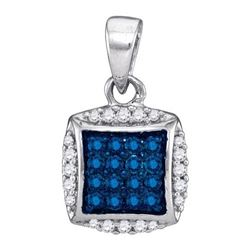 10K White-gold 0.25CTW BLUE DIAMOND MICRO-PAVE PENDANT