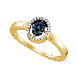 10KT Yellow Gold 0.17CTW BLUE DIAMOND FASHION RING