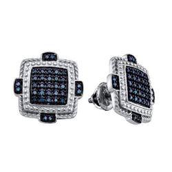 925 Sterling Silver White 0.40CTW BLUE DIAMOND MICRO PA