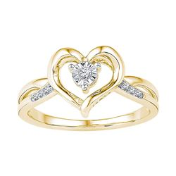 10kt Yellow Gold Womens Round Diamond Solitaire Heart R