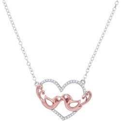 10kt White Gold Womens Round Diamond Heart Rose-tone Lo