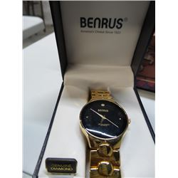 Benrus Geniune Diamond gold watch