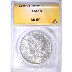 1886-O MORGAN DOLLAR ANACS AU-50