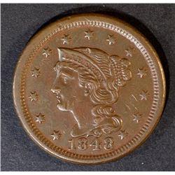 1848 LARGE CENT AU/BU