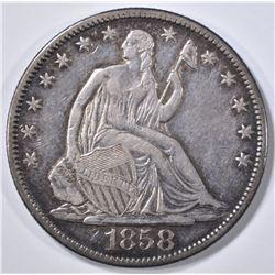 1858-O SEATED LIBERTY HALF DOLLAR AU
