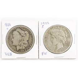 Lot (2) USA Silver Dollars 1886(O) and 1922(S)
