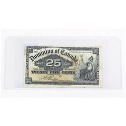 Dominion of Canada 1900 25 Cent Note 'Boville'