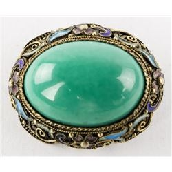 Estate Oval Turquoise Pin