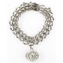Estate Sterling Silver Charm Bracelet with Watch
