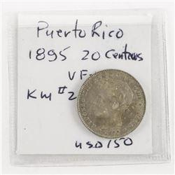 Puerto Rico 1895 20 Centavos VF-XF KM#22