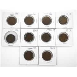 Lot (10) Canada Large Cents, Mix of Monarchs