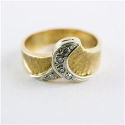 Ladies 10kt Gold Diamond Ring Brush Finish - Size