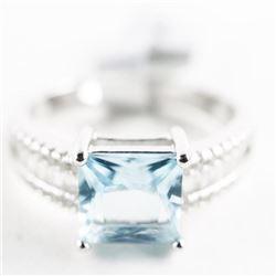 925 Silver Ring Size 8 Cushion Cut Blue Topaz