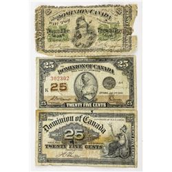 Group (3) Dominion of Canada 25 Cent Notes - 1870,