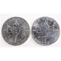 Lot (2) .9999 Fine Silver $5.00 Coins Maple Leafs
