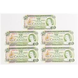 Lot (5) Bank of Canada 1969 20.00 in Sequence. Fro