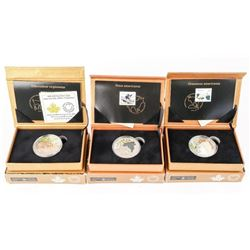Group of (3) 9.9 Fine Silver $20.00 Coins LE Stamp