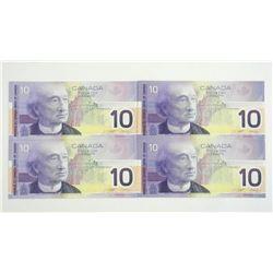 Lot (4) Bank of Canada 2001 10.00 Note BC63a Choic