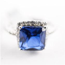 925 Silver Ring Size 7 - Sapphire Blue , Cushion C